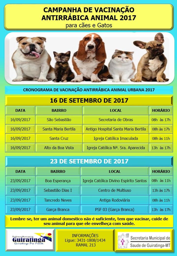 Campanha de Vacinação Antirrábica Animal para Cães e Gatos 2017