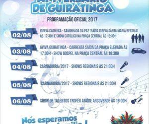 Programação Oficial do Aniversário de Guiratinga
