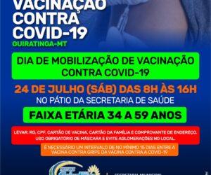 Sábado, 24 de julho será realizado um dia de mobilização de vacinação contra a COVID-19